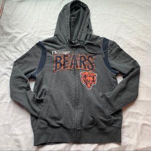 Chicago Bears Grey Zip Up Hoodie Size Medium
